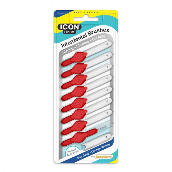 Icon Interdental Brushes: Original - Size 2 - 0.5mm - Red (Pack of 8)