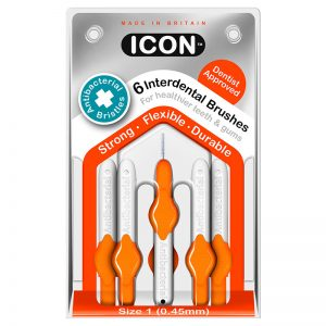 Icon Interdental Brushes: Antibacterial - Size 1 - 0.45mm - Orange (Pack of 6)