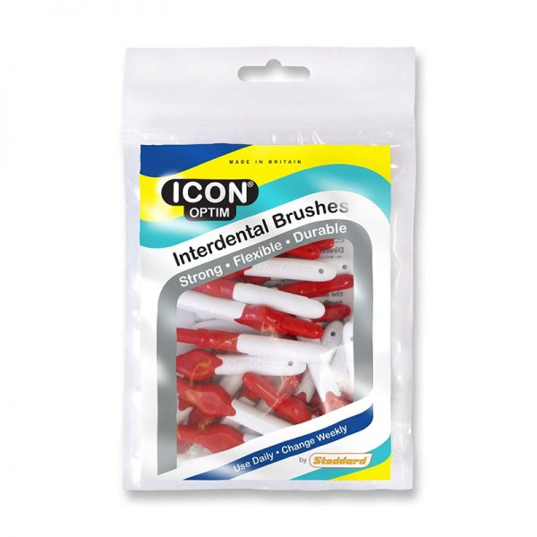 Icon Optim Interdental Brushes: Original - Size 2 - 0.5mm - Red (Pack of 25)