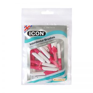Icon Interdental Brushes: Antibacterial - Size 0 - 0.4mm - Pink (Pack of 25)