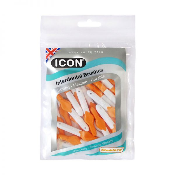 Icon Interdental Brushes: Antibacterial - Size 1 - 0.45mm - Orange (Pack of 25)
