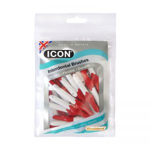 Icon Interdental Brushes: Antibacterial - Size 2 - 0.5mm - Red (Pack of 25)