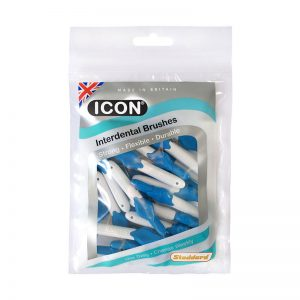 Icon Interdental Brushes: Antibacterial - Size 3 - 0.6mm - Blue (Pack of 25)