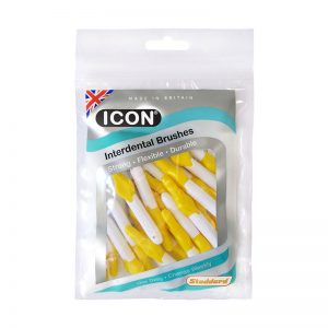 Icon Interdental Brushes: Antibacterial - Size 4 - 0.7mm - Yellow (Pack of 25)