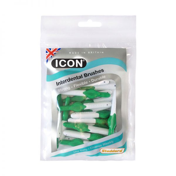 Icon Interdental Brushes: Antibacterial - Size 5 - 0.8mm - Green (Pack of 25)