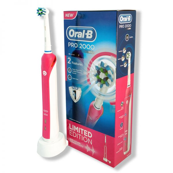 Oral-B Pro 2000 Cross Action Rechargeable Electric Toothbrush - Pink
