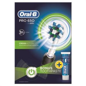 Oral B Pro 650 Black X Action + Toothpaste