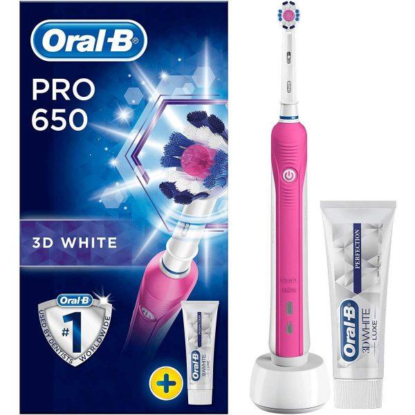 Oral B Pro 650 3D White Toothbrush Pink